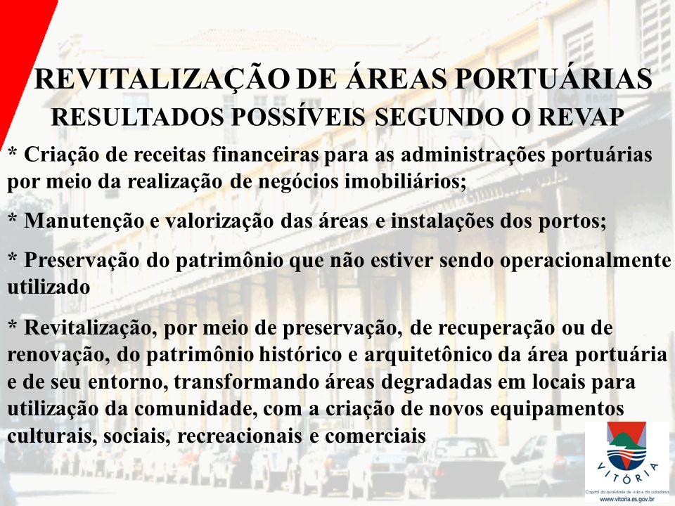 REVITALIZAÇÃO DE ÁREAS PORTUÁRIAS RESULTADOS POSSÍVEIS SEGUNDO O REVAP * Criação de receitas financeiras para as administrações portuárias por meio da