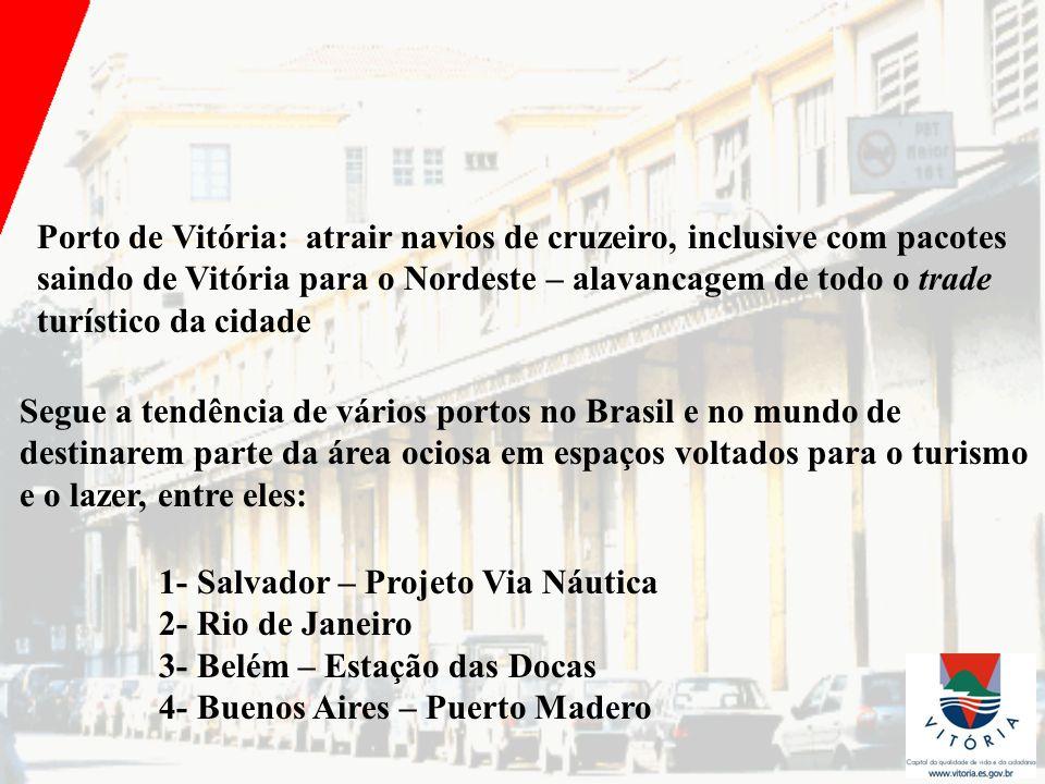 Porto de Vitória: atrair navios de cruzeiro, inclusive com pacotes saindo de Vitória para o Nordeste – alavancagem de todo o trade turístico da cidade