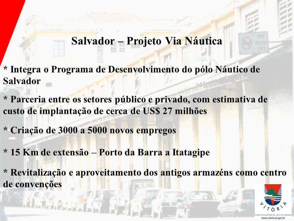Salvador – Projeto Via Náutica * Integra o Programa de Desenvolvimento do pólo Náutico de Salvador * Parceria entre os setores público e privado, com