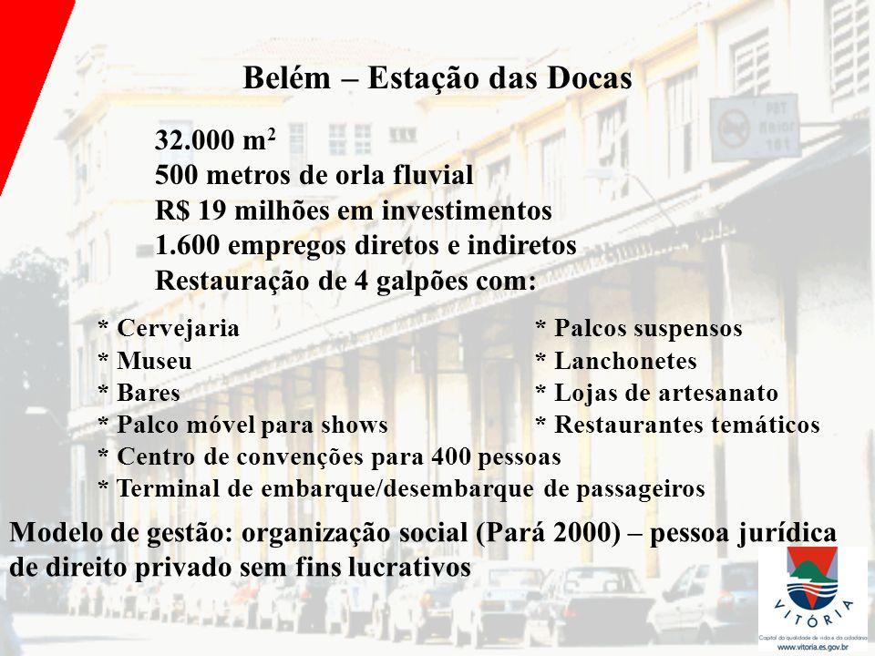 Belém – Estação das Docas 32.000 m 2 500 metros de orla fluvial R$ 19 milhões em investimentos 1.600 empregos diretos e indiretos Restauração de 4 gal