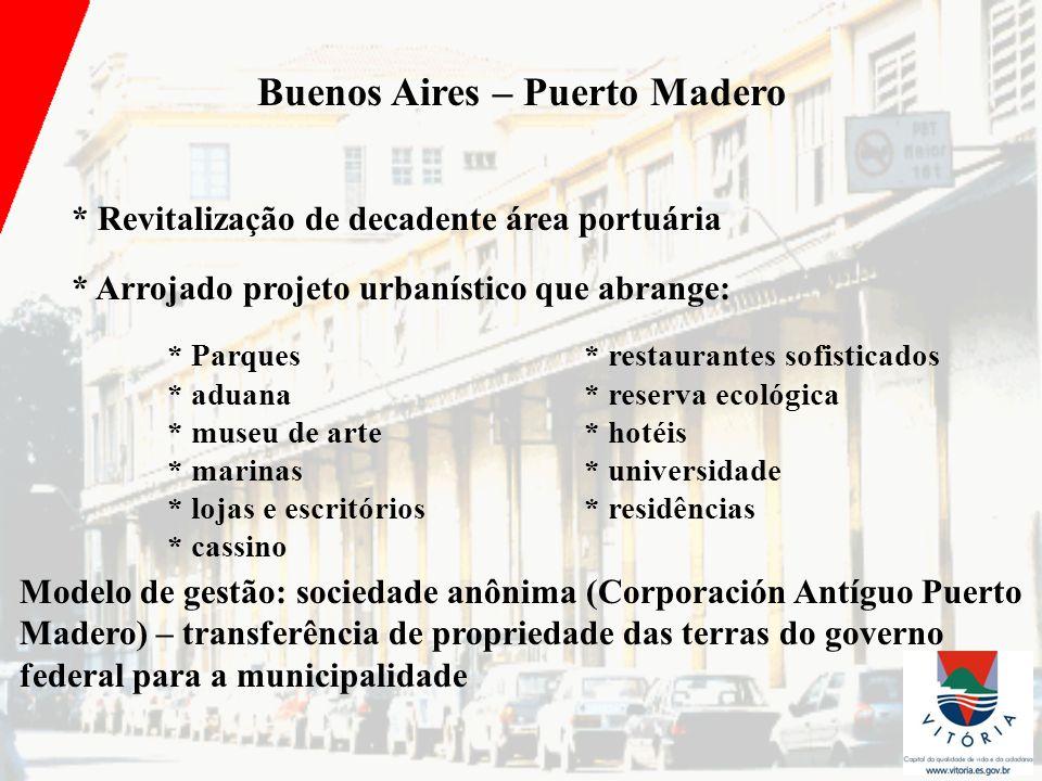 Buenos Aires – Puerto Madero * Revitalização de decadente área portuária * Arrojado projeto urbanístico que abrange: * Parques* restaurantes sofistica
