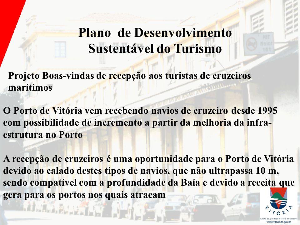 Plano de Desenvolvimento Sustentável do Turismo Projeto Boas-vindas de recepção aos turistas de cruzeiros marítimos O Porto de Vitória vem recebendo n