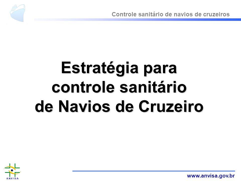www.anvisa.gov.br Estratégia para controle sanitário de Navios de Cruzeiro Controle sanitário de navios de cruzeiros