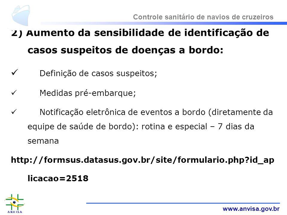 www.anvisa.gov.br 2) Aumento da sensibilidade de identificação de casos suspeitos de doenças a bordo: Definição de casos suspeitos; Medidas pré-embarq