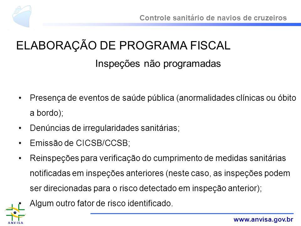 www.anvisa.gov.br Inspeções não programadas Presença de eventos de saúde pública (anormalidades clínicas ou óbito a bordo); Denúncias de irregularidad