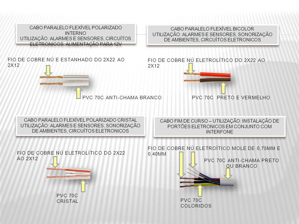 CABO PARALELO FLEXÍVEL POLARIZADO INTERNO UTILIZAÇÃO: ALARMES E SENSORES, CIRCUÍTOS ELETRONICOS, ALIMENTAÇÃO PARA 12V CABO PARALELO FLEXÍVEL POLARIZAD