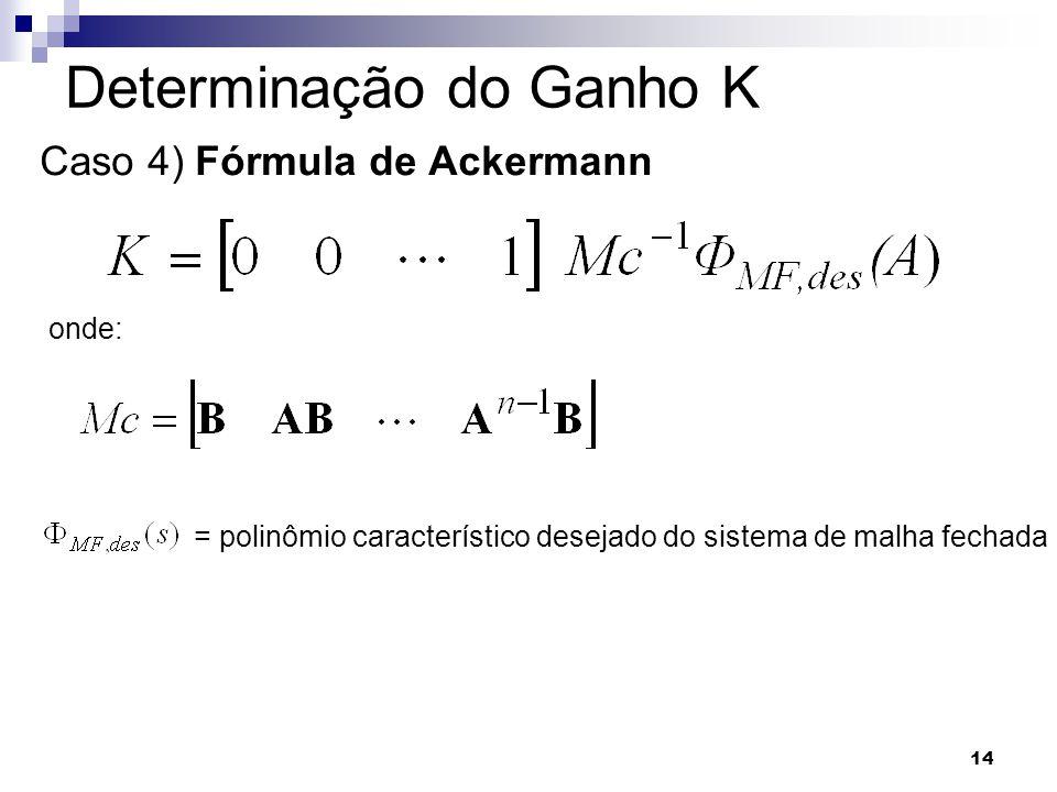14 Determinação do Ganho K Caso 4) Fórmula de Ackermann onde: = polinômio característico desejado do sistema de malha fechada