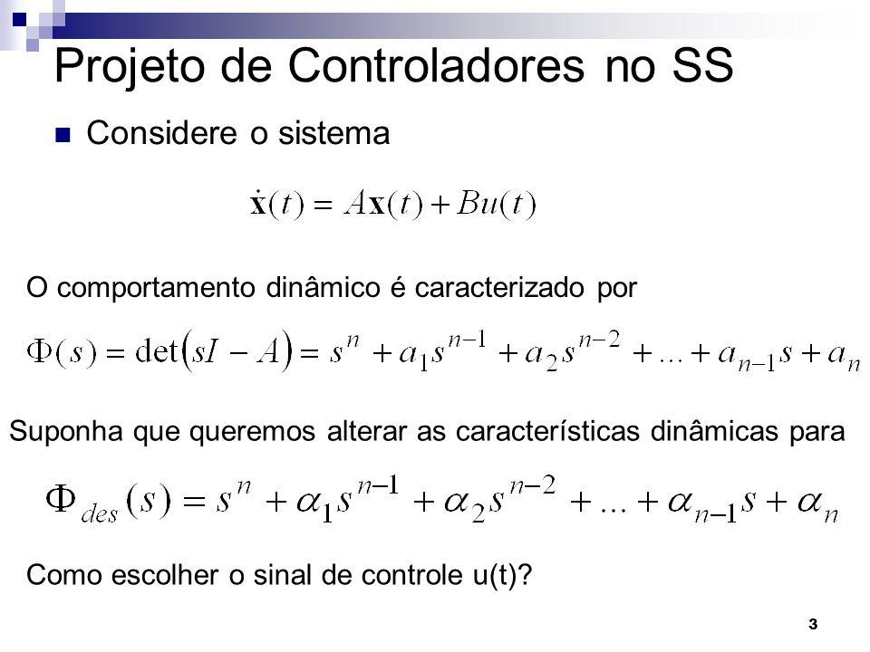 4 Projeto de Controladores no SS Vamos considerar realimentação de estados O sistema realimentado é Cujo polinômio característico é dado por
