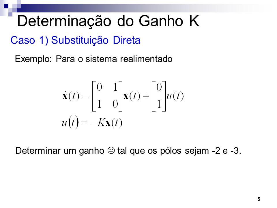5 Determinação do Ganho K Caso 1) Substituição Direta Exemplo: Para o sistema realimentado Determinar um ganho K tal que os pólos sejam -2 e -3.