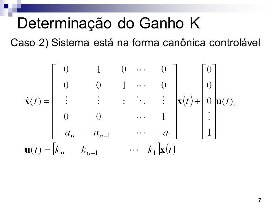 7 Determinação do Ganho K Caso 2) Sistema está na forma canônica controlável
