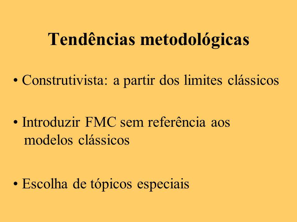 Tendências metodológicas Construtivista: a partir dos limites clássicos Introduzir FMC sem referência aos modelos clássicos Escolha de tópicos especia
