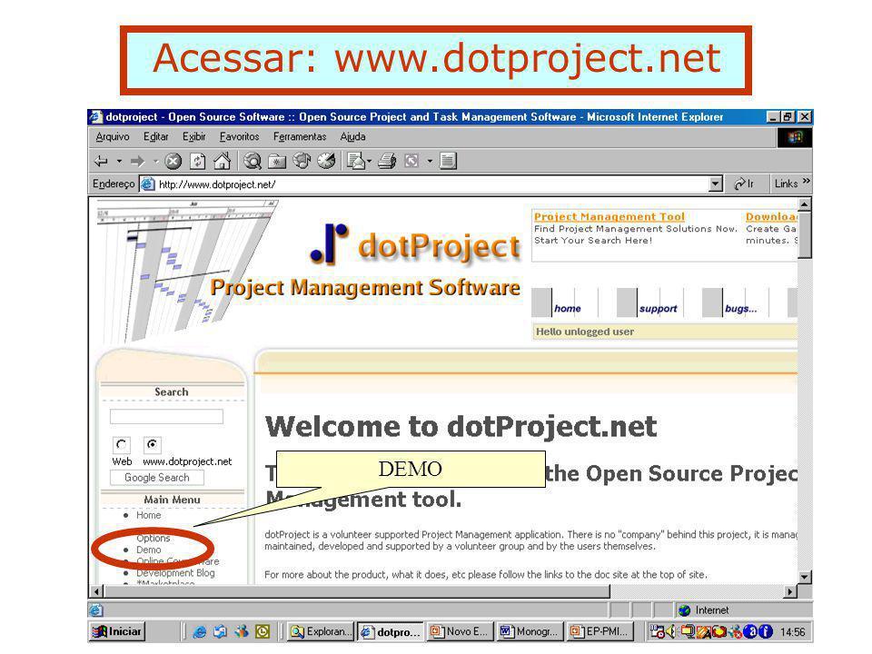 """Um exemplo de um projeto utilizando o """"demo"""" dotProject www.dotproject.net"""