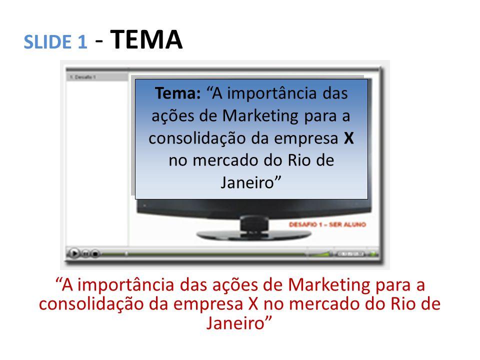 SLIDE 2 –INTRODUÇÃO A importância das ações de Marketing para a consolidação da empresa X no mercado do Rio de Janeiro Introdução: As ações de Marketing realizadas pela empresa X, no período de __/__ e __/__, serviram para consolidar a sua participação