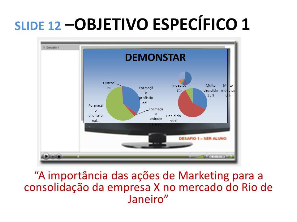 """SLIDE 12 –OBJETIVO ESPECÍFICO 1 """"A importância das ações de Marketing para a consolidação da empresa X no mercado do Rio de Janeiro"""" DEMONSTAR"""