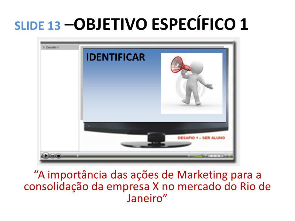 """SLIDE 13 –OBJETIVO ESPECÍFICO 1 """"A importância das ações de Marketing para a consolidação da empresa X no mercado do Rio de Janeiro"""" IDENTIFICAR"""