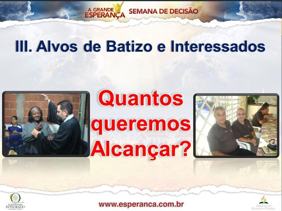 III. Alvos de Batizo e InteressadosIII. Alvos de Batizo e Interessados