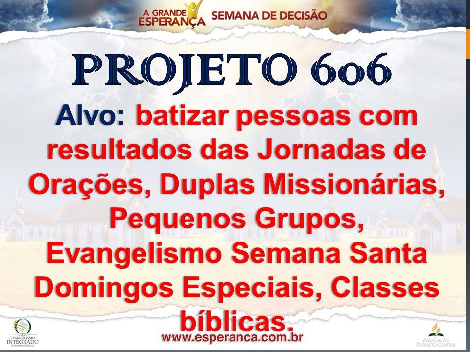 Alvo: batizar pessoas com resultados das Jornadas de Orações, Duplas Missionárias, Pequenos Grupos, Evangelismo Semana SantaEvangelismo Semana Santa D