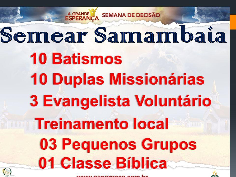 10 Batismos10 Batismos 10 Duplas Missionárias10 Duplas Missionárias 3 Evangelista Voluntário3 Evangelista Voluntário Treinamento localTreinamento loca