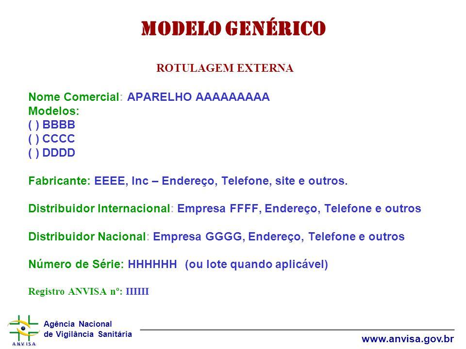 Agência Nacional de Vigilância Sanitária www.anvisa.gov.br Modelo Genérico ROTULAGEM EXTERNA Nome Comercial: APARELHO AAAAAAAAA Modelos: ( ) BBBB ( )