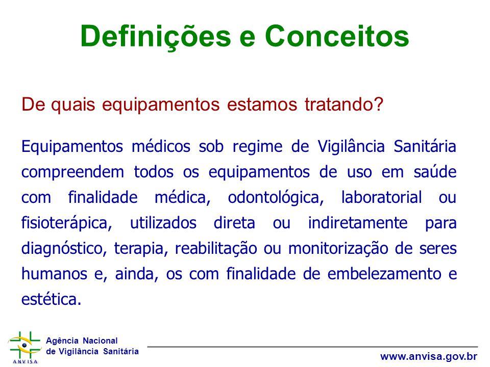 Agência Nacional de Vigilância Sanitária www.anvisa.gov.br Equipamentos médicos sob regime de Vigilância Sanitária compreendem todos os equipamentos d