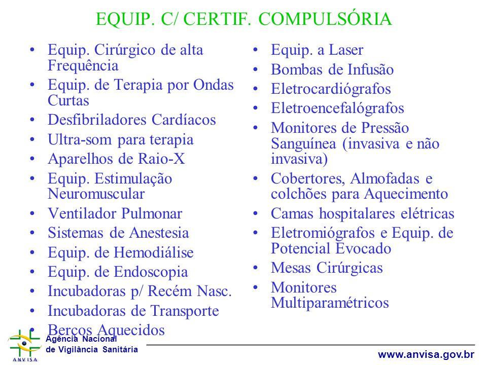 Agência Nacional de Vigilância Sanitária www.anvisa.gov.br EQUIP. C/ CERTIF. COMPULSÓRIA Equip. Cirúrgico de alta Frequência Equip. de Terapia por Ond