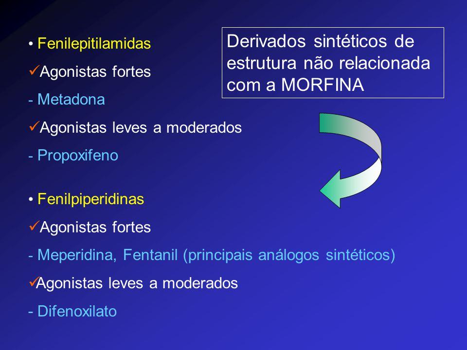 Fenilepitilamidas Agonistas fortes - Metadona Agonistas leves a moderados - Propoxifeno Fenilpiperidinas Agonistas fortes - Meperidina, Fentanil (prin