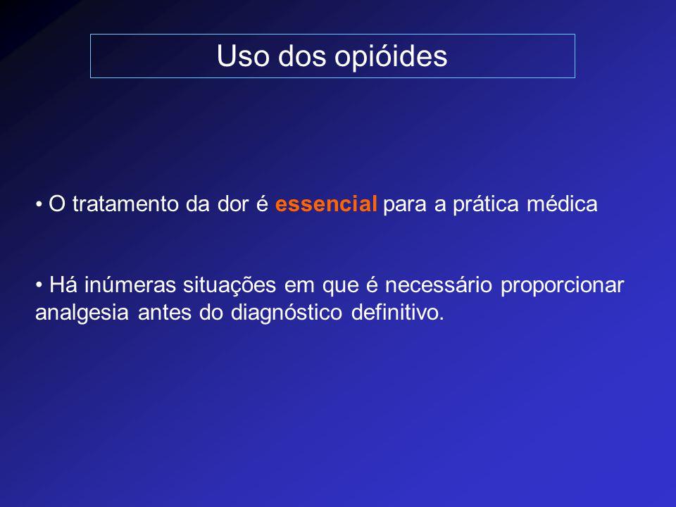 Uso dos opióides O tratamento da dor é essencial para a prática médica Há inúmeras situações em que é necessário proporcionar analgesia antes do diagn