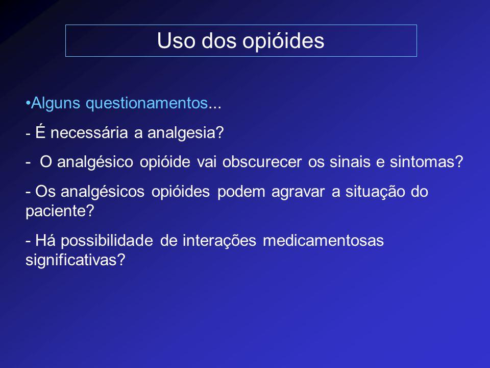Uso dos opióides Alguns questionamentos... - É necessária a analgesia? - O analgésico opióide vai obscurecer os sinais e sintomas? - Os analgésicos op
