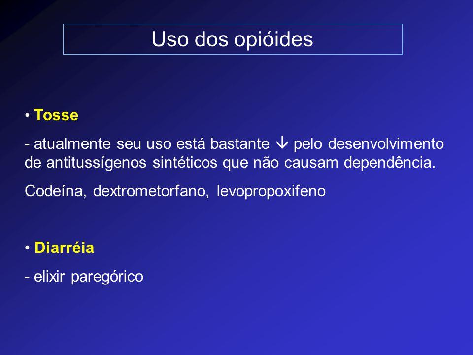 Uso dos opióides Tosse - atualmente seu uso está bastante  pelo desenvolvimento de antitussígenos sintéticos que não causam dependência. Codeína, dex