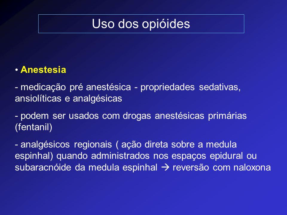 Uso dos opióides Anestesia - medicação pré anestésica - propriedades sedativas, ansiolíticas e analgésicas - podem ser usados com drogas anestésicas p
