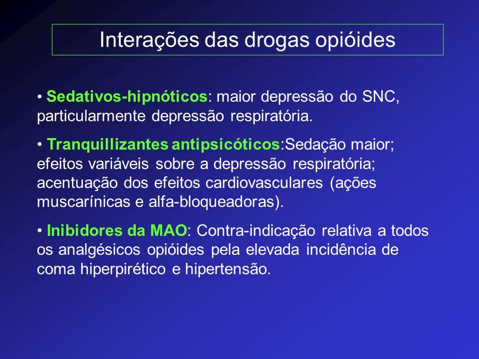 Interações das drogas opióides Sedativos-hipnóticos: maior depressão do SNC, particularmente depressão respiratória. Tranquillizantes antipsicóticos:S