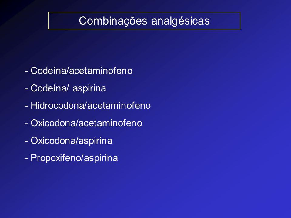 Combinações analgésicas - Codeína/acetaminofeno - Codeína/ aspirina - Hidrocodona/acetaminofeno - Oxicodona/acetaminofeno - Oxicodona/aspirina - Propo