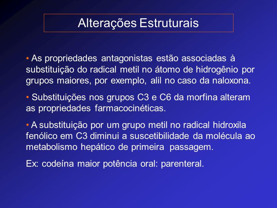 Receptores Opióides  (mu)  analgesia supra-espinhal, depressão respiratória, euforia e dependência física  (capa)  analgesia espinhal, miose, sedação e disforia  (delta)  alterações no comportamento afetivo  (sigma)  disforia, alucinações, estimulação vasomotora.