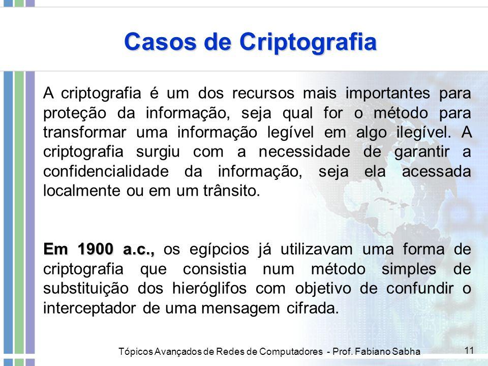 Tópicos Avançados de Redes de Computadores - Prof. Fabiano Sabha 11 Casos de Criptografia A criptografia é um dos recursos mais importantes para prote