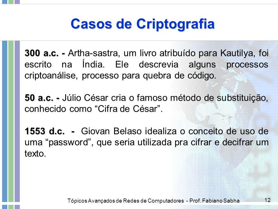 Tópicos Avançados de Redes de Computadores - Prof. Fabiano Sabha 12 Casos de Criptografia 300 a.c. - 300 a.c. - Artha-sastra, um livro atribuído para