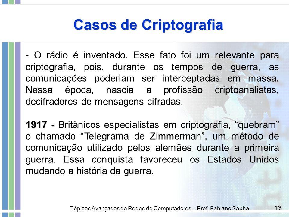 Tópicos Avançados de Redes de Computadores - Prof. Fabiano Sabha 13 Casos de Criptografia - O rádio é inventado. Esse fato foi um relevante para cript