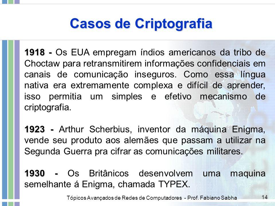 Tópicos Avançados de Redes de Computadores - Prof. Fabiano Sabha 14 Casos de Criptografia 1918 - 1918 - Os EUA empregam índios americanos da tribo de