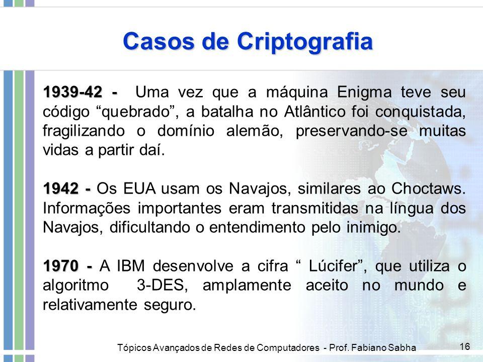 Tópicos Avançados de Redes de Computadores - Prof. Fabiano Sabha 16 Casos de Criptografia 1939-42 - 1939-42 - Uma vez que a máquina Enigma teve seu có