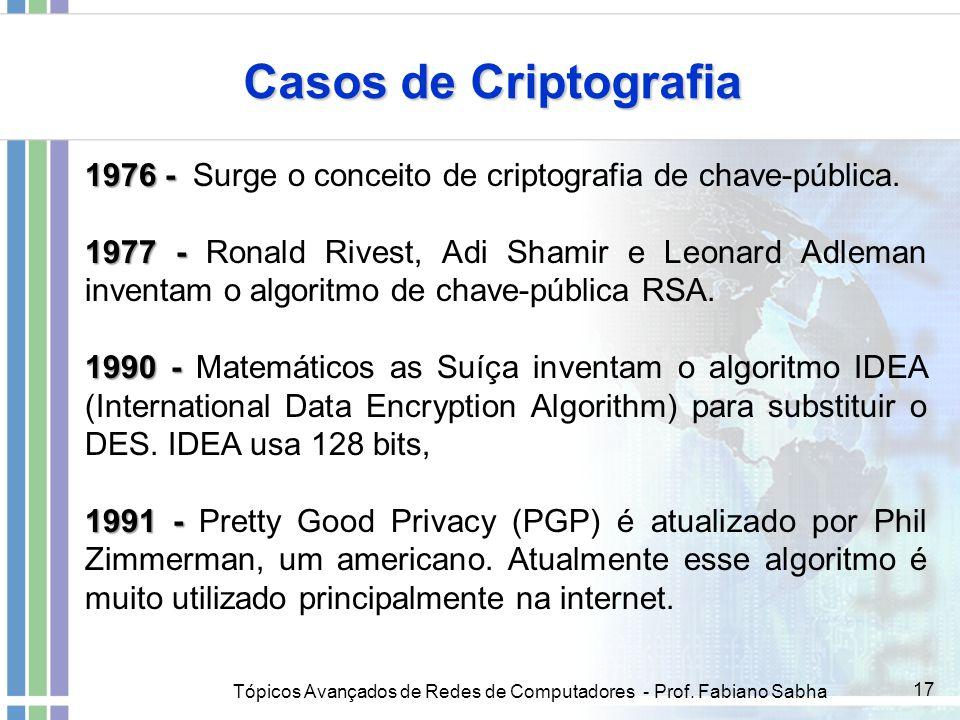 Tópicos Avançados de Redes de Computadores - Prof. Fabiano Sabha 17 Casos de Criptografia 1976 - 1976 - Surge o conceito de criptografia de chave-públ