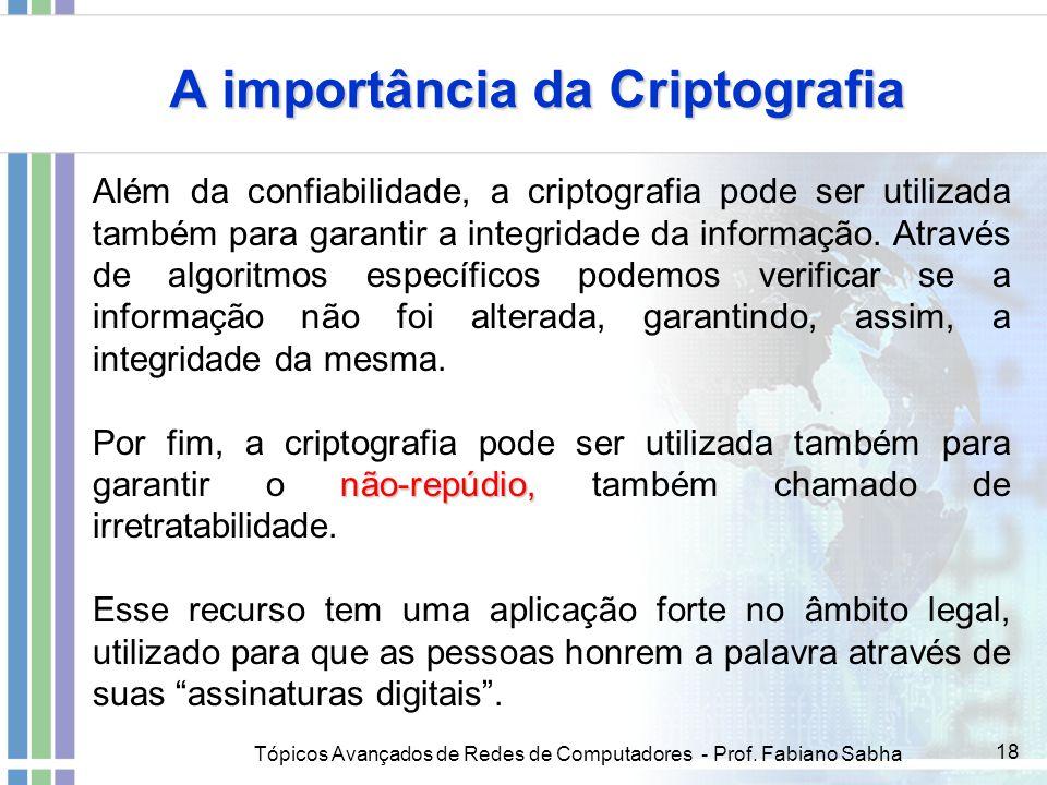 Tópicos Avançados de Redes de Computadores - Prof. Fabiano Sabha 18 A importância da Criptografia Além da confiabilidade, a criptografia pode ser util