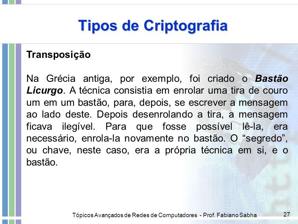Tópicos Avançados de Redes de Computadores - Prof. Fabiano Sabha 27 Tipos de Criptografia Transposição Na Grécia antiga, por exemplo, foi criado o Bas