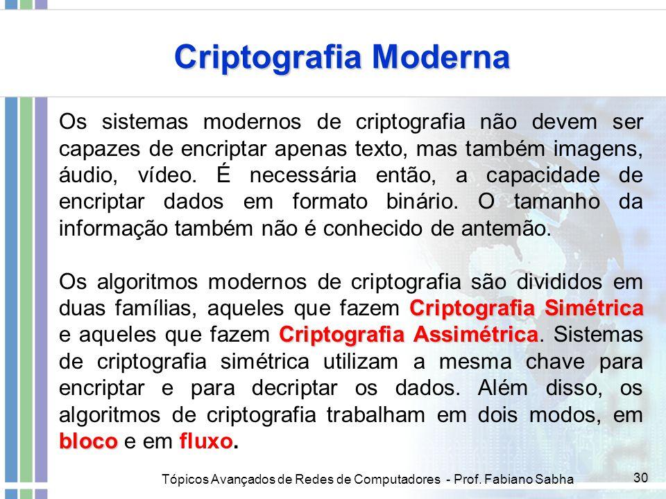 Tópicos Avançados de Redes de Computadores - Prof. Fabiano Sabha 30 Criptografia Moderna Os sistemas modernos de criptografia não devem ser capazes de