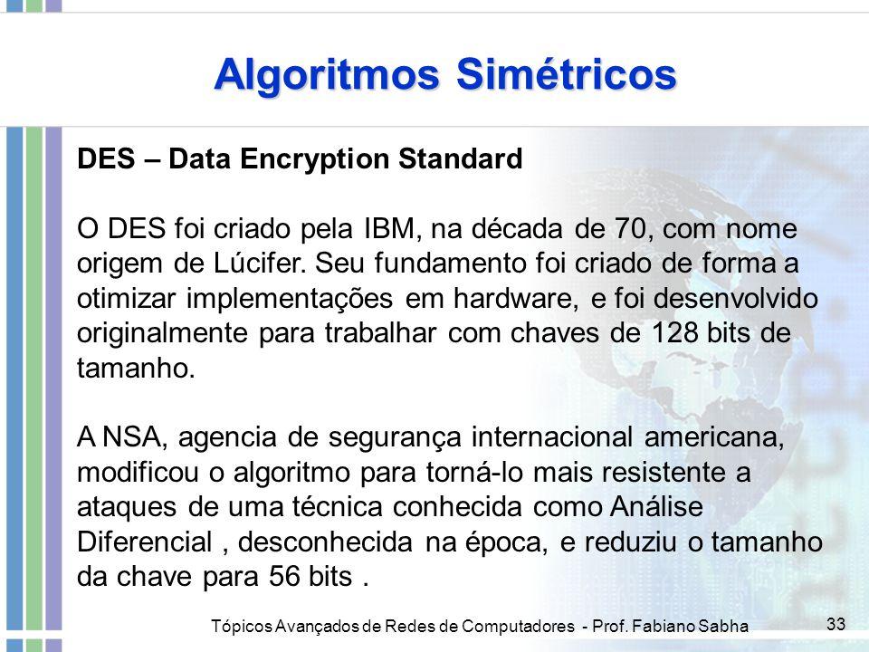 Tópicos Avançados de Redes de Computadores - Prof. Fabiano Sabha 33 Algoritmos Simétricos DES – Data Encryption Standard O DES foi criado pela IBM, na