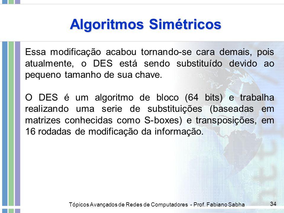 Tópicos Avançados de Redes de Computadores - Prof. Fabiano Sabha 34 Algoritmos Simétricos Essa modificação acabou tornando-se cara demais, pois atualm