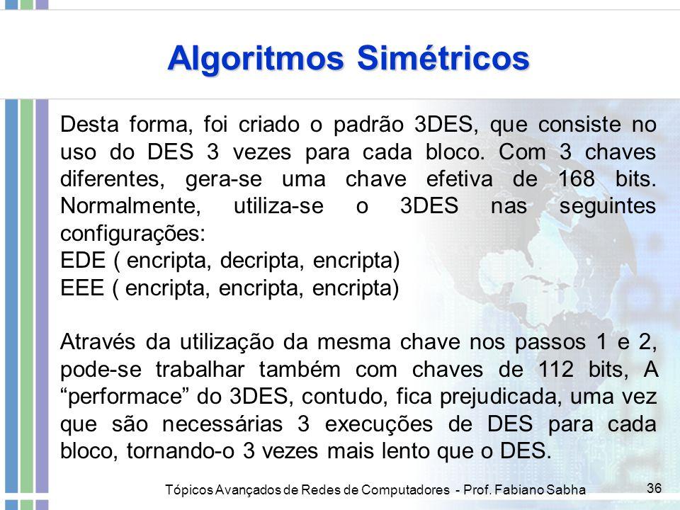 Tópicos Avançados de Redes de Computadores - Prof. Fabiano Sabha 36 Algoritmos Simétricos Desta forma, foi criado o padrão 3DES, que consiste no uso d