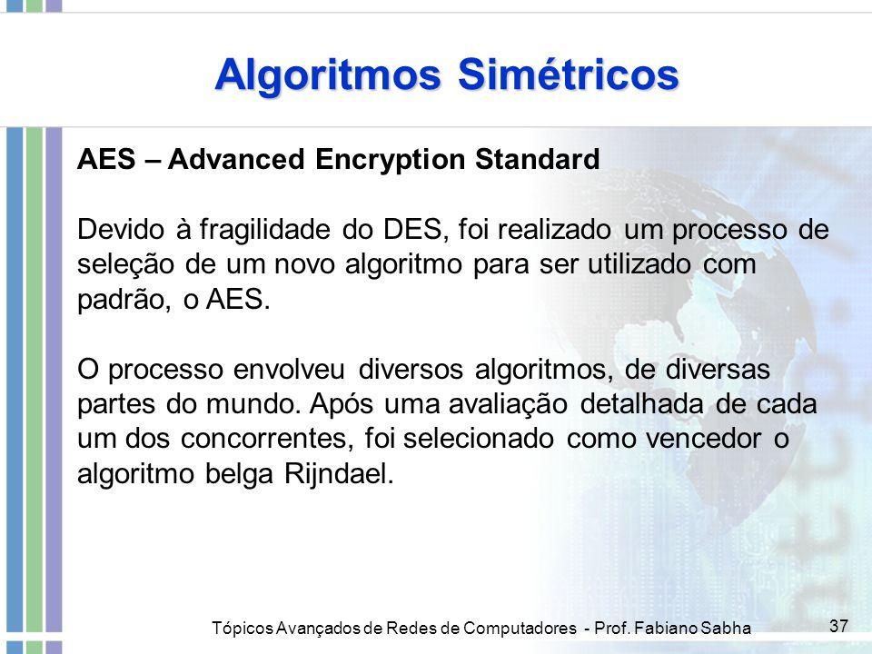 Tópicos Avançados de Redes de Computadores - Prof. Fabiano Sabha 37 Algoritmos Simétricos AES – Advanced Encryption Standard Devido à fragilidade do D