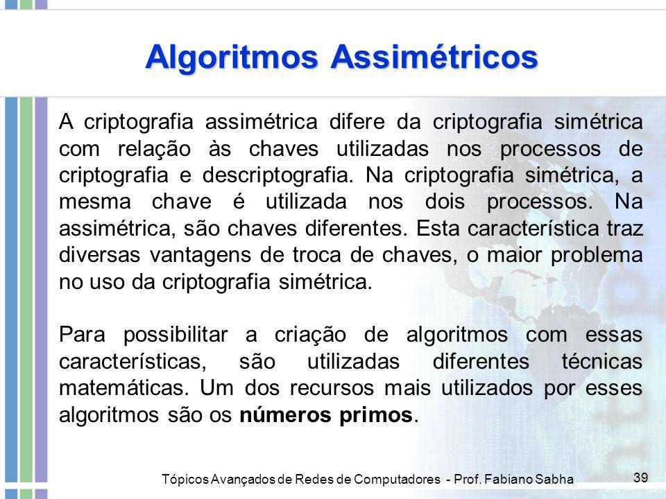 Tópicos Avançados de Redes de Computadores - Prof. Fabiano Sabha 39 Algoritmos Assimétricos A criptografia assimétrica difere da criptografia simétric