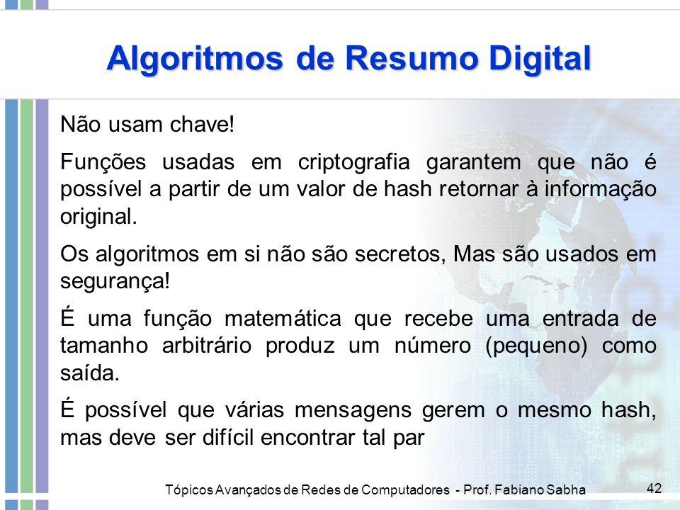 Tópicos Avançados de Redes de Computadores - Prof. Fabiano Sabha 42 Algoritmos de Resumo Digital Não usam chave! Funções usadas em criptografia garant