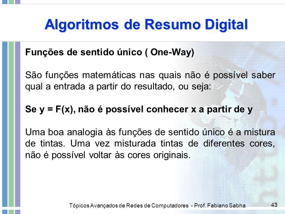 Tópicos Avançados de Redes de Computadores - Prof. Fabiano Sabha 43 Algoritmos de Resumo Digital Funções de sentido único ( One-Way) São funções matem