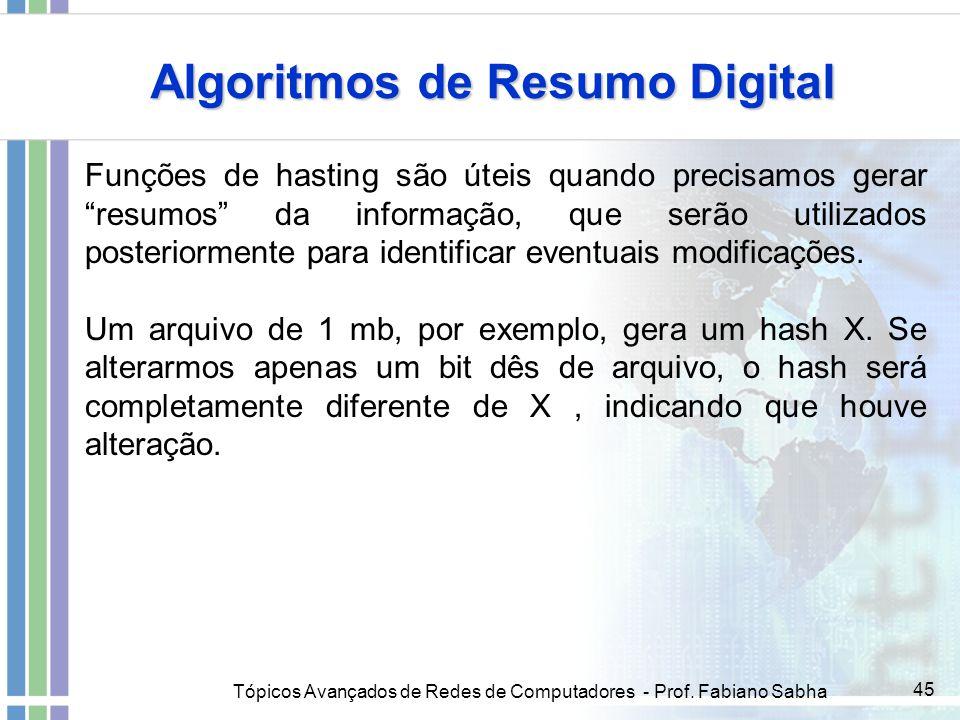 Tópicos Avançados de Redes de Computadores - Prof. Fabiano Sabha 45 Algoritmos de Resumo Digital Funções de hasting são úteis quando precisamos gerar
